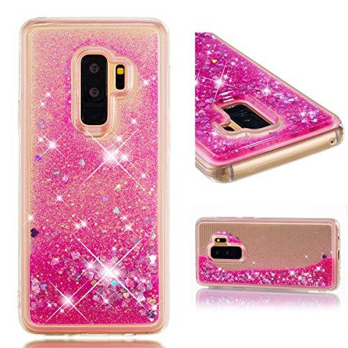 Galaxy S9 Plus Housse Paillettes Rose, Fluide Flottant Liquide Sables Mouvant Glitter Liquide Paillette Protection Coque Antichoc Silicone Souple Brillante Étui Compatible avec Samsung S9 Plus G965