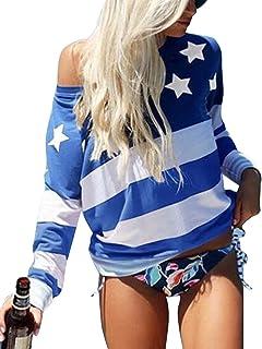 Women's Long Sleeve July 4th Tee Shirt Blouse 5XXL Patriotic US American Flag T Shirt Tops Plus Size