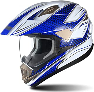 BBJZQ Motocross Helmet Matte Youth Full Face Motorbike Helmet Off Road Downhill All Mountain Riding Helmet with Hd Visors,Motorbike Crash Modular Helmet with Removable Brim ECE