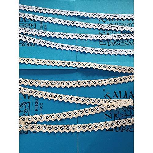PIZZITALIANI LACES & RIBBONS SINCE 1953 Nastro Pizzo Merletto Tombolo Cotone per Decorazioni Sartoria Cucito Altezza Cm.2 Pezza Mt.10 Art.1223, Bianco