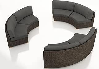 Harmonia Living HL-ARD-CH-3CSEC-CC 3 Piece Arden Curved Sectional Set, Canvas Charcoal Cushions
