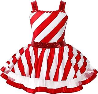 TTAO Kids Girls Shiny Sequins Striped Dancewear Christmas Party Performance Dance Costume Tutu Leotard Dress