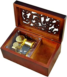 Antique Engraved Wooden Wind-Up Musical Box,Edelweiss Musical Box,with Gold-plating Movement in,Rectangle