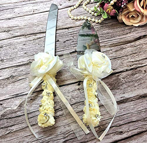 Abbie Home Wedding Cake Knife & Server Set - Silk Rose Lace Bowknot Decoration