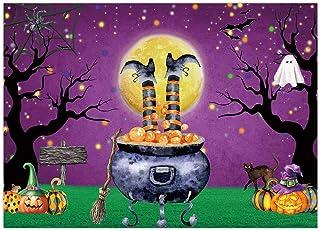 Funnytree 7x5FT Witch Halloween Eve Backdrop Wizard Hallowmas Background Horror Creepy Scary Cauldron Ghost Bat Magic Kids...