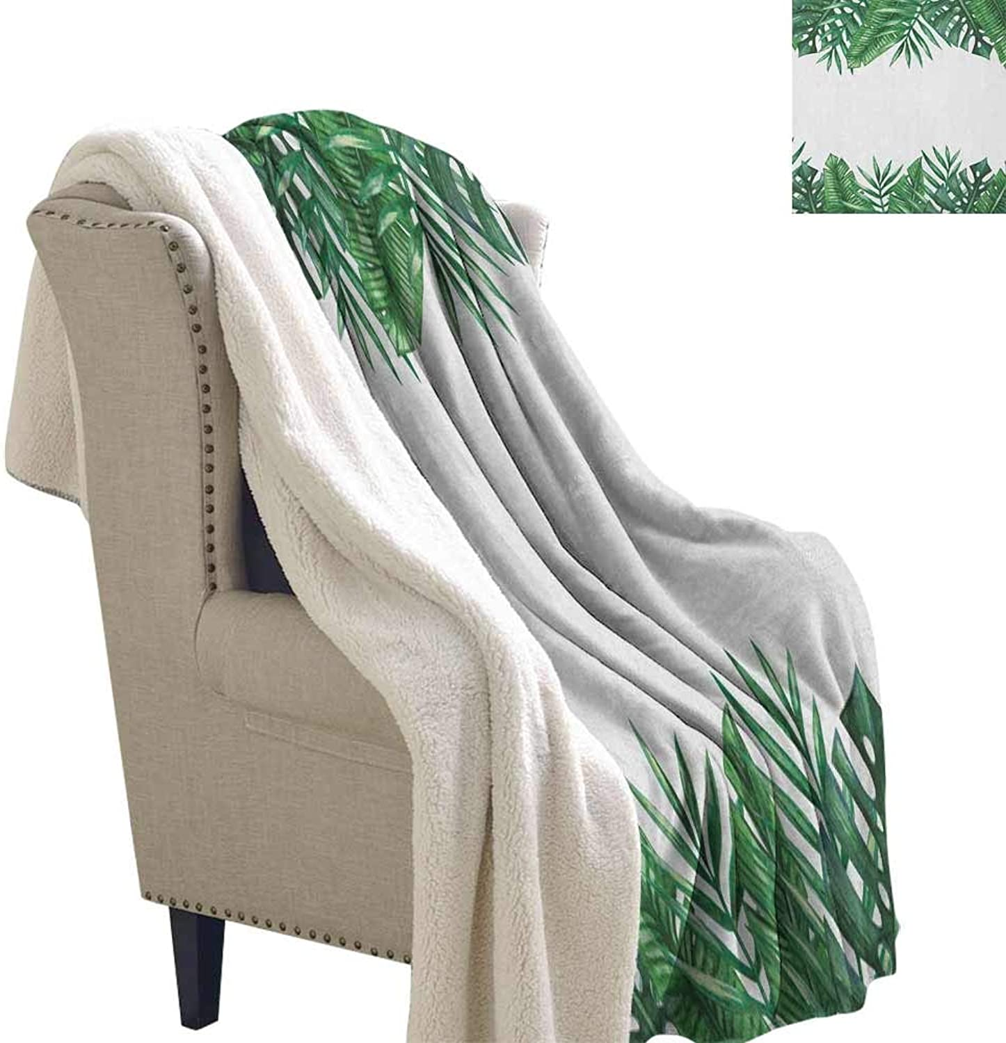 Palm Leaf Winter Quilt Framework with Rainforest Foliage Leaves in Watercolors Soft Blanket Microfiber Hunter Green Forest Green White W59 x L31
