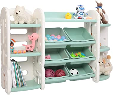 JOYMOR 3-in-1 Kids Toy Storage Shelves with Organizer & Bookshelf & Corner Rack & 6 Green Plastic Bins, Toddler's Shelf Drawer for Child's Bedroom Playroom (Green)