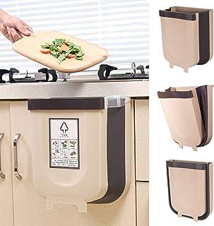 Kitchen Poubelle Pliable 9L Wall Mounted Portable Petite Poubelle, Design Suspendu, Attaché À L'armoire Porte Cuisine Tiro...
