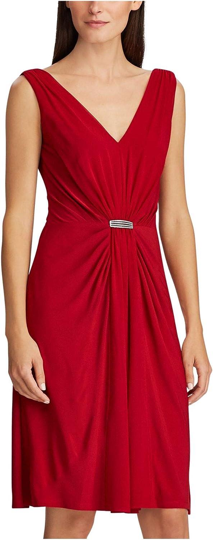 Lauren by Ralph Women's Max 88% OFF Dress Max 75% OFF 12P Red Rhinestone Petite