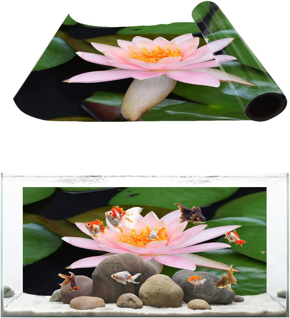 TH XHome Aquarium Décor Backgrounds San Diego Mall Fish Lotus Pattern Fashionable Pink