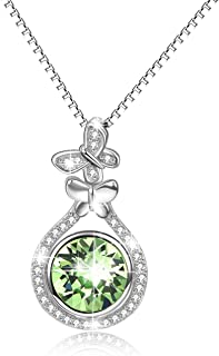 Sterling Silver Birthstone Necklace Pendant with Swarovski Crystal,Fine Jewelry Gift for Women Wife