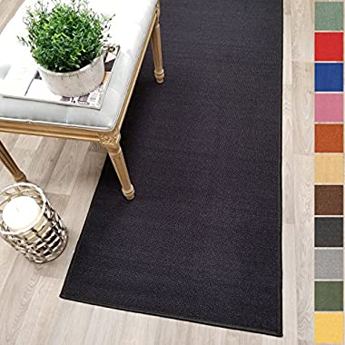 Kapaqua Custom Size BLACK Solid Plain Rubber Backed Non-Slip Hallway Stair Runner Rug Carpet 22 inch Wide Choose Your Length 22in X 3ft