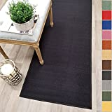 Custom Size Black Solid Plain Rubber Backed Non-Slip Hallway Stair Runner Rug Carpet 22 inch Wide Choose Your Length 22in X 6ft