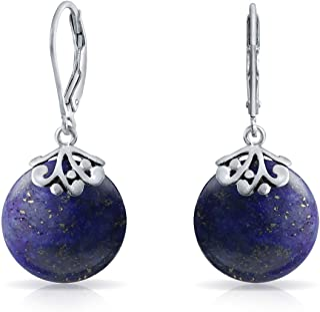 Bali Balinese Style Filigree Flat Round Disc Dangle Drops Leverback Gemstones Earrings For Women 925 Sterling