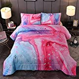 YEARNING Pink Comforter Set Queen Size, Colorful Marble Oil Painting Design Bedding Sets - with 2 Pillowcases for Girls, Teens, Kids…