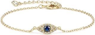 Gold Tiny Chain Bracelet 14K Gold Plated/Sterling Silver Eyil Eye Beads Bracelet Layered Handmade Charm Link Bracelet
