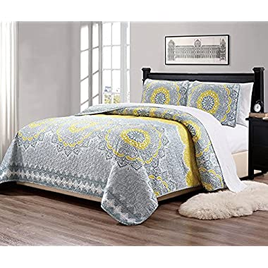 MK Home Mk Collection 3pc Queen Over Size 106  x 95  Bedspread Quilt Over size Yellow Coastal Plain Grey Green White Elegant Design # Oslo Yellow (Yellow, Queen)
