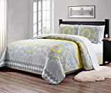Mk Collection 3pc Queen Over Size 106' x 95' Bedspread Quilt Over Size Yellow Coastal Plain Grey Green White Elegant Design # Oslo Yellow (Yellow, Queen)