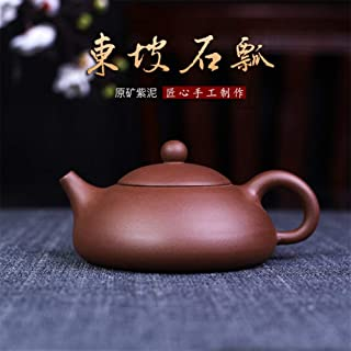 HaiNing Zheng Ore authentic teapot famous pure hand-household teapot tea Dongpo stone scoop pot (Color : Purple mud)