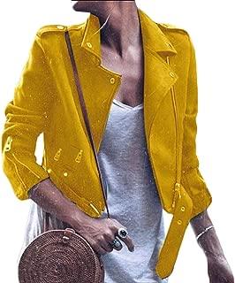 UUYUK Women Faux Leather Oblique Zipper Fashion Biker Slim Coat Jacket