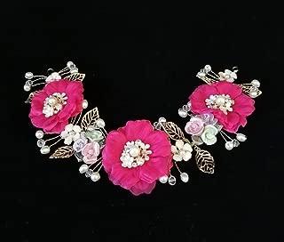 hong Wu Korean Luxury Diamond Wedding Tiara, Pink Floral 3D Hair Band, Bridal Rings take Comb Hair Accessories Garland of red Roses for The Bride Wedding