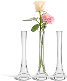 ComSaf Florero de Cristal Conjunto de 3, Pequeña Jarrón Decorativo de Vidrio para Flor y Plantas, Diseño Moderno y Delgado...