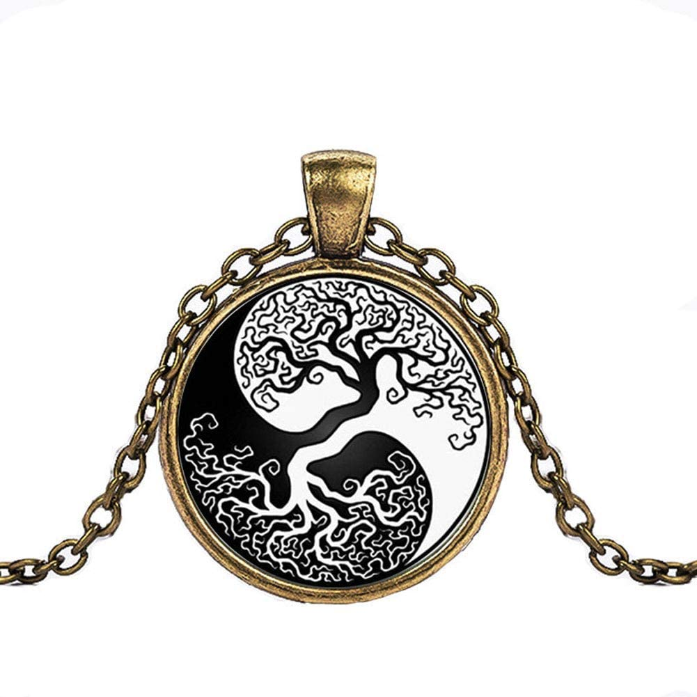 FOY-MALL Bronze-Tone Metal Time Gem Life Tree Pendant Necklace XL1546N