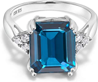 Gem Stone King London Blue Topaz 925 Sterling Silver Women's Ring (7.66 Ct Emerald Cut Gemstone Birthstone Available in size 5, 6, 7, 8, 9)