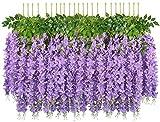 SHACOS 24 Pcs/100cm Glycine Artificielle Guirlande de Fleurs Artificielles Violette...