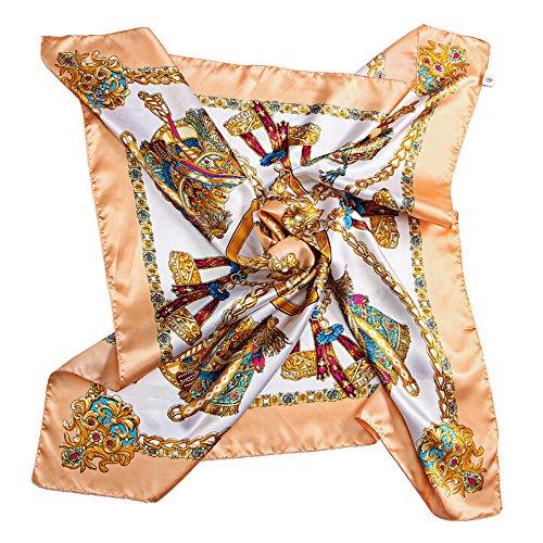 San Bodhi® Klassisches Damen-Halstuch, Seiden-Haptik, groß, quadratisch Gr. One size, gelb