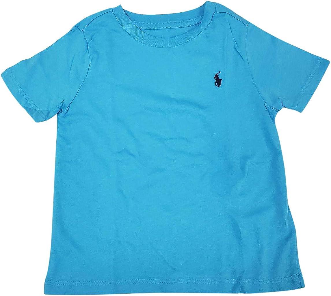 Ralph Lauren Little Boys Polo Crewneck Tee Solid (X-Large (18-20), Caribbean Blue, x_l)
