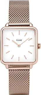 CLUSE LA TÉTRAGONE Rose Gold Mesh White CL60003 Women's Watch 29mm Square Dial Stainless Steel Strap Minimalistic Design Casual Dress Japanese Quartz Precision