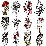 Qpout 12 Hojas Tatuajes temporales grandes para mujeres y hombres, pegatinas de tatuaje de medio brazo, tatuajes de tótem tribales de flor de lobo, cráneo, león, búho, decoración de fiesta