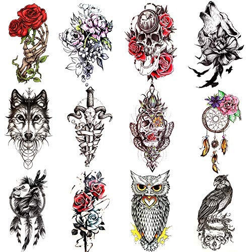 Konsait 12 Sheets Large Temporary Tattoos for Women Man, Half Arm Sleeves Tattoo Stickers, Flower wolf Skull Lion Owl Tribal Totem Fake Tattoos, Party Favors Body Art Decoration Tattoo for Adults Kids