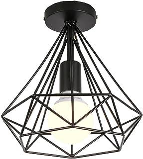 Retro Estilo Nórdico Lámpara de techo Vintage Luz de Techo Φ25cm Iluminación Dormitorio Comedor Estudio Pasillo Balcón (Negro)