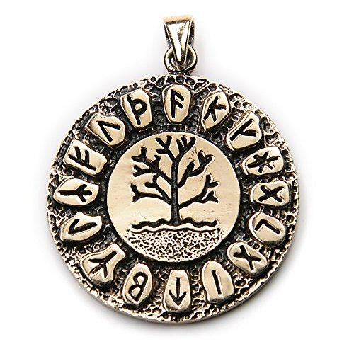 Drachensilber Runen Lebensbaum Schmuck Bronze Kette Anhänger ausgefallener Mittelalter Schmuckanhänger Gothic Biker