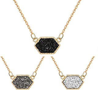 Colorful Faux Druzy Jewelry Set Drusy Necklace Silver Plated Hexagon Pendant Christmas Women's Gift for Her