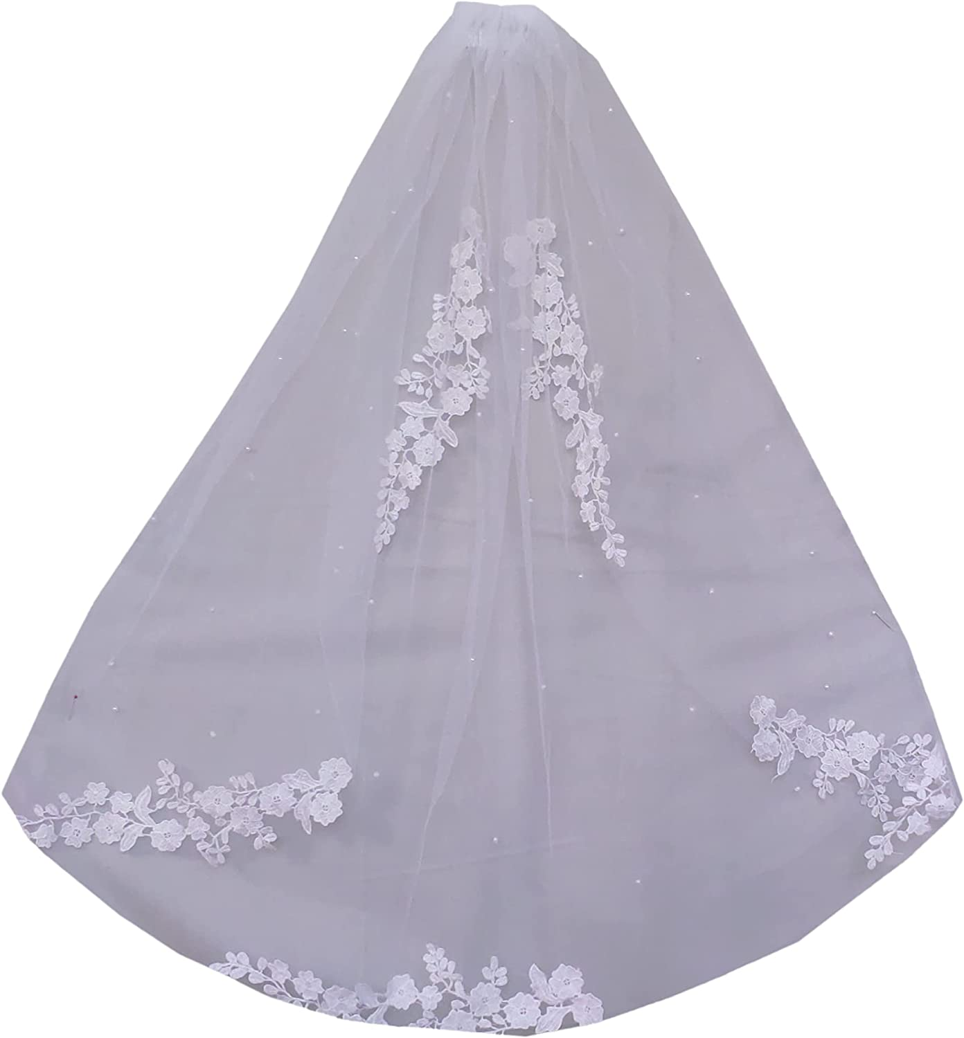 Wedding Veils 1 Tier Cathedral Bachelorette Tulle Lace Edge Ribbon with Comb