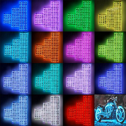 DITRIO 12Pcs Motorcycle LED Light Kit Strips Multi-Color Accent Glow Neon Ground Effect Atmosphere Lights Lamp with Wireless Remote Controller for Harley Davidson Honda Kawasaki Suzuki (Pack of 12)