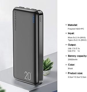 High quality power bank power bank 10000/20000mAh Power Bank For Xiaomi mi 9 8 Universal Powerbank Charger Dual Usb Ports Pover Bank External Battery Poverbank (Color : Black 20000mAh)