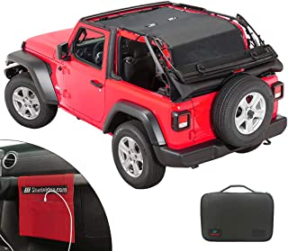 Shadeidea Jeep Wrangler Sunshade JL 2 Door Sun Shade Front and Rear Trunk - Black Mesh Screen Top Cover UV Blocker with Grab Bag 2018+ 10 Years Lasting