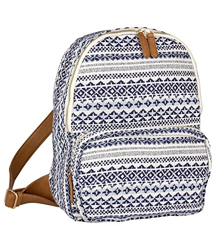 SIX - 1 pc. of large womens backpack, canvas zipper bag, blue and white bohemian pattern, with brown fake leather straps (463-167)