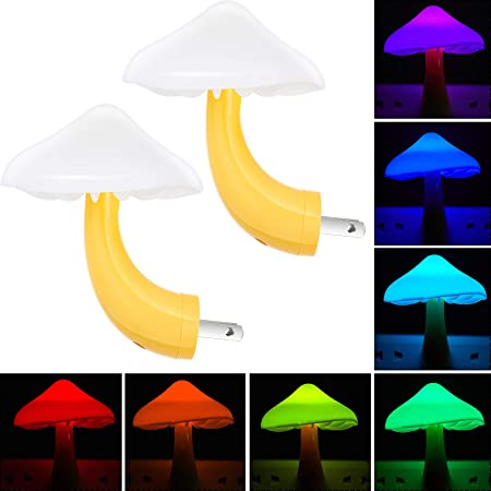 2 Pieces LED Mushroom Night Lamp Plug in Lamp Mushroom Night Light Mini Magic Mushroom Night Lights for Adults Kids Thanksgiving Christmas (7-Color Discoloration)