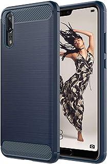 ebestStar - Coque Compatible avec Huawei P20 Housse Etui Gel Motif Fibre Carbone Luxe Flex TPU Premium, Bleu Foncé [Appare...