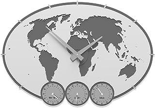 CalleaDesign - Orologi in Legno con fusi orari Greenwich da Personalizzare, Colore: Bianco