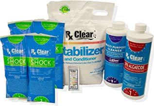 Rx Clear Spring Start-Up Kit | Chemicals for Opening Swimming Pools | Above or Inground | for Pools Up to 30,000 Gallons | Includes Shock, Algaecide, Conditioner/Stabilizer, Tile Cleaner & Test Strips