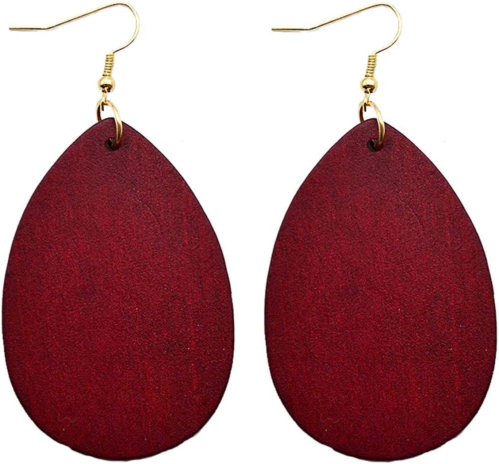 SMALLLOVE Wooden Hoop Earrings for Women Girls Retro Black African Bohemian Wood Teardrop Geometric Lightweight Dangle Drop Earrings