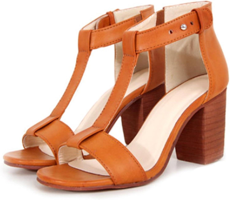 High Thick Heel Sandals Open Toe T Shape Strap light brown 39
