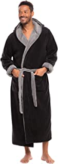 Alexander Del Rossa Men's Warm Fleece Robe with Hood, Big and Tall Sherpa Contrast Bathrobe