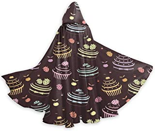 XMM Unisex Adult Halloween Cape Cloak Vampire Magician Costume Accessories Props, Party Cupcake Pattern Black